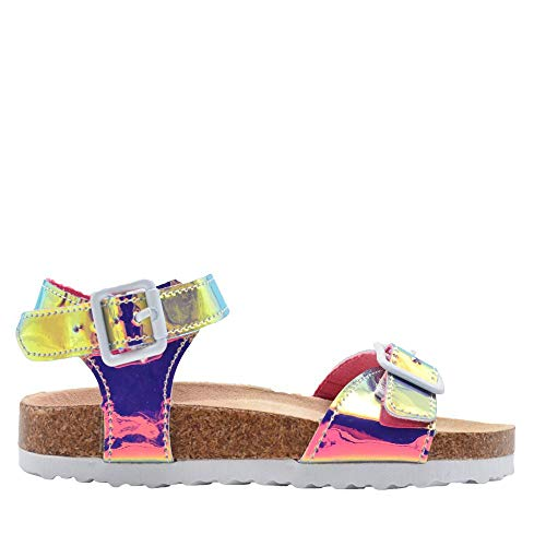 Girls Metallic Holographic Slip On Slide Sandals