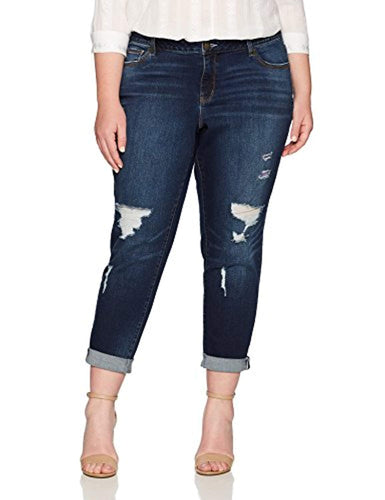 Colorful Busted Girlfriend Jeans Plus Size - kats closet1