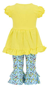Girls School Apple Embroidered 2 Piece Outfit