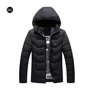 Heated Jacket,USB Rechargeable Heated Cotton Coat Three-Grade Temperature Adjustable Compatible Men Women,Black Winter(Order a Larger Size) - kats closet1