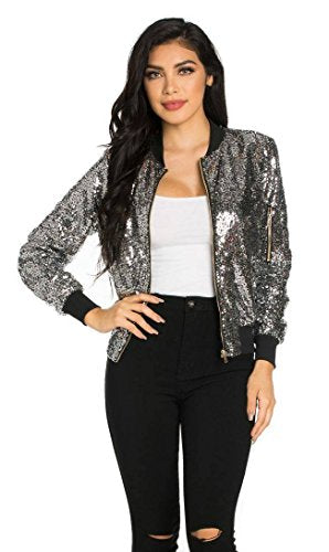 SOHO GLAM All Over Sequin Bomber Jacket in Silver - kats closet1