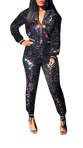 Women's Sequin 2 Piece Outfit Long Sleeve Zip Up Jacket and Bodycon Pants Set - kats closet1