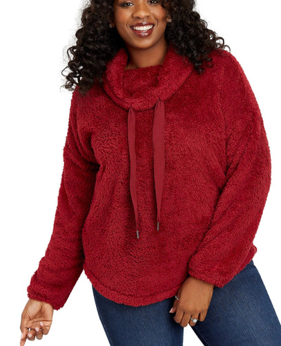 Plus Size Cowl Neck Sherpa Pullover