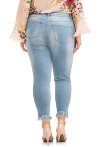 Plus Size Ankle Skinny Jeans With Silver Metallic Stripe - kats closet1