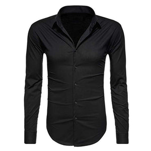 Solid Color Button Casual Long Sleeve Shirt