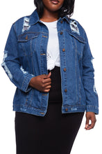 Load image into Gallery viewer, Distressed Fishnet Denim Jacket - kats closet1