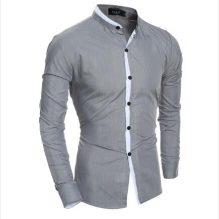 2018 New Fashion Men Shirt Slim Casual Solid Color Long-Sleeve Male Shirt Slim Fit Chemise Homme Camisa Masculina Size XXL - kats closet1