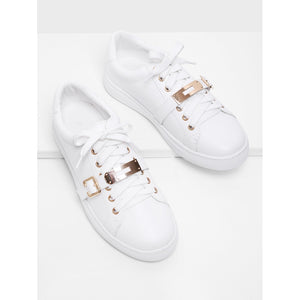 Metal Detail Lace Up Sneakers - kats closet1