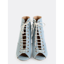 Load image into Gallery viewer, Patchwork Stiletto Ankle Booties LIGHT BLUE - kats closet1