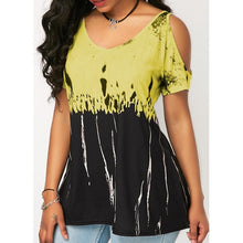 Load image into Gallery viewer, Plus Size Women Fashion Casual Short Sleeve T-shirt Sexy Strapless Loose Shirt Tie-dye Tops - kats closet1