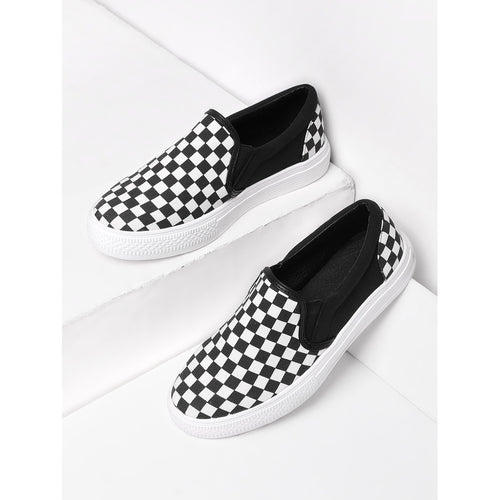 Gingham Canvas Slip On Plimsolls - kats closet1