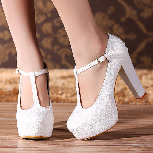 Princess Royal Lace Hollow High Heels Party Queen Platform Wedding Shoes - kats closet1