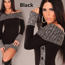 Load image into Gallery viewer, Long Sleeve Mixed Colors Long Sweater Mini Dress - kats closet1