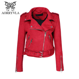 AORRYVLA Fashion Suede Faux Leather Jacket For Women Autumn 2017 Turn-Down Colors Zippers Motorcycle Lady Coat Hot Sale AO-371