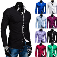Load image into Gallery viewer, Double Layer Collar Square Buckle, Long Sleeve Shirt