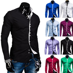 Double Layer Collar Square Buckle, Long Sleeve Shirt