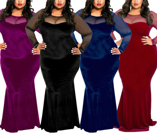 Long Sleeve Mesh Velvet Plus Size Dress