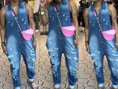 Fashion Hole Turn Down Collar Sleeveless Side Pockets Denim Jumpsuit