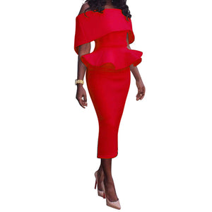 Elegant Hip Ruffles Pencil Sheath Dress - kats closet1