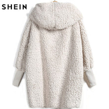 Load image into Gallery viewer, SHEIN Hooded Outwear Winter Newest Fashion Design Women's Apricot Batwing Long Sleeve Loose Streetwear Hooded Coat - kats closet1