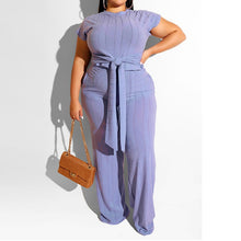 Load image into Gallery viewer, Plus Size Two Piece Short Sleeve Crop Top And Wide Leg Pants Set
