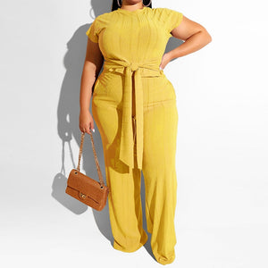 Plus Size Two Piece Short Sleeve Crop Top And Wide Leg Pants Set