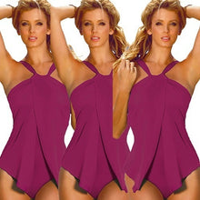 Load image into Gallery viewer, Halter Neck Wrap Split Front Bikini One Piece - kats closet1