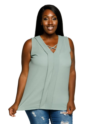 Xehar Women's Plus Size Sleeveless V-Neck Pleated Tunic Blouse TopXehar Women's Plus Size Sleeveless V-Neck Pleated Tunic Blouse Top - kats closet1
