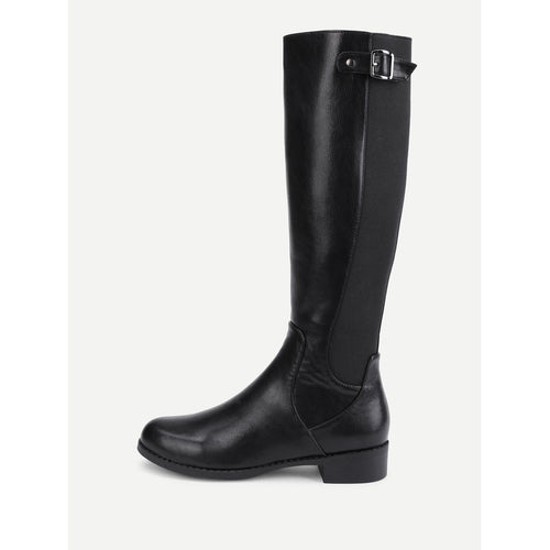 Side Zipper Knee High PU Boots - kats closet1