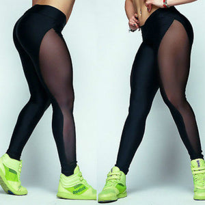 Ladies Fitness Leggings Pants Spliced Trousers