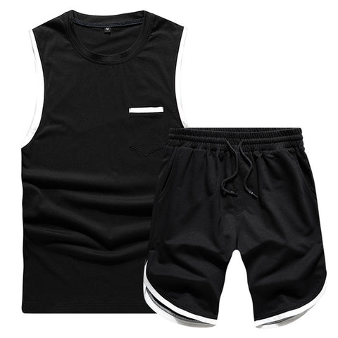 2PC Men's Summert Sweat Shorts Set