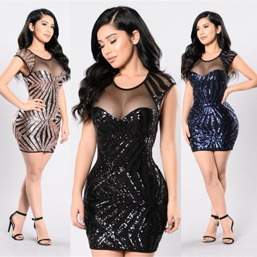 Women s Summer Fashion Mini Stripes Sequin Sexy Spring Deep O Neck Backless Mesh Sequins Dress - kats closet1