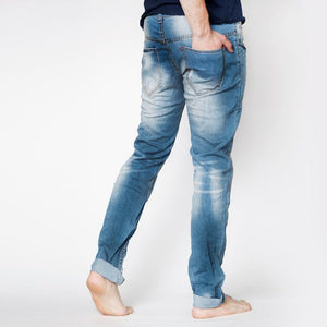 Mens Slim Fit Distressed With Patch Details Jeans in Light Blue - kats closet1