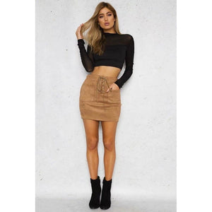 Leather Suede Lace Up Bandage Short Mini Skirt - kats closet1