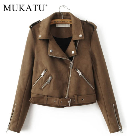 New Fashion Women suede motorcycle jacket Slim brown full lined soft faux Leather female coat epaulet zipper