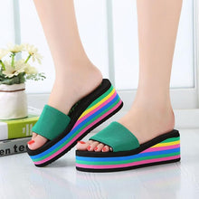 Load image into Gallery viewer, Beach Sandals Rainbow High Platform Wedge Slippers - kats closet1