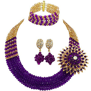 laanc Womens Girls Necklace Bracelet 5 Rows Gold AB and Colorful Crystal Beads African Jewelry Sets - kats closet1