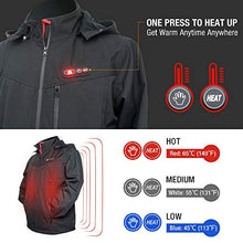 Load image into Gallery viewer, Heated Jacket for Men, Warm heating Coat with 7.4V Battery / 5 Heat Areas/Phone Charging Function - kats closet1