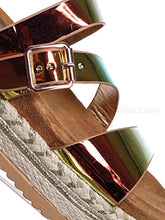 Load image into Gallery viewer, Metallic Hologram Slide - Molded Footbed Platform Sandals