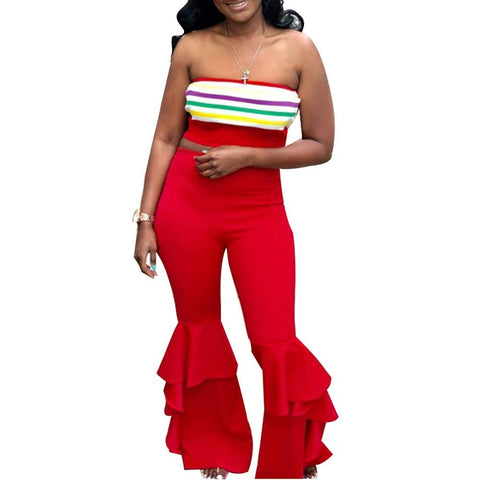 a9a9a4bd54 Women High Waisted Ruffles Bell Bottom Leggings Solid Stretchy Bodycon Flare  Pants - kats closet1