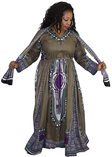 African Long Sleeve Maxi Waist Kaftan Dress - kats closet1