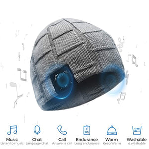 Bluetooth Beanie Hat, Wireless 4.0 Hands-Free Knit Music Cap with HD Stereo Speaker Headphone Mic Rechargeable USB for Winter Fitness Outdoor Sports