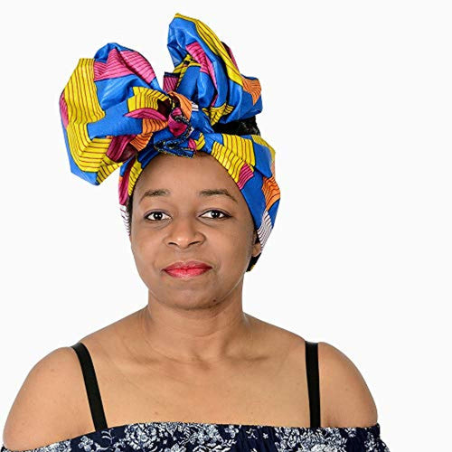 Long African Print  Stretch Hair Tie Scarf Turban Head Wrap