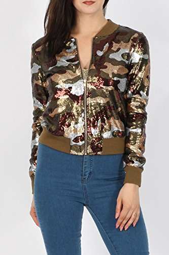 Ladies Camo Sequin Bomber Jacket US Size 6-12 - kats closet1