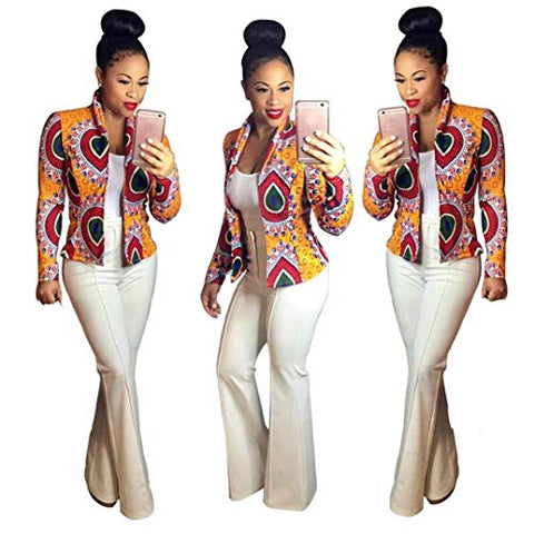 African Style Dashiki Printed Open Front Short Jacket Cardigan - kats closet1