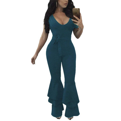 Joseph Costume Women's Sexy Flare Bell Bottom Pants Belted Bodycon One Piece Jumpsuit Rompers - kats closet1