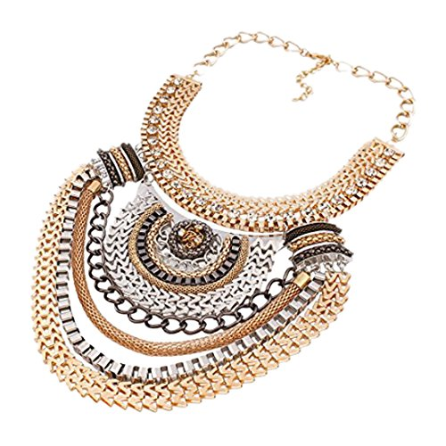 QIYUN.Z (TM) Funky Ethnic Tribal Colorful Multiple Chain Bib Choker Statement Collar Necklace - kats closet1