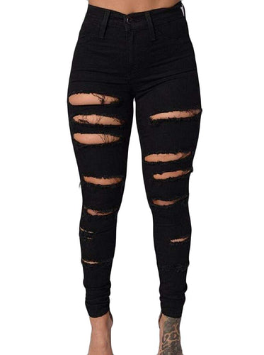 Stretchable Tights Capris Ripped Holes Highwaist Ankle Jeans - kats closet1