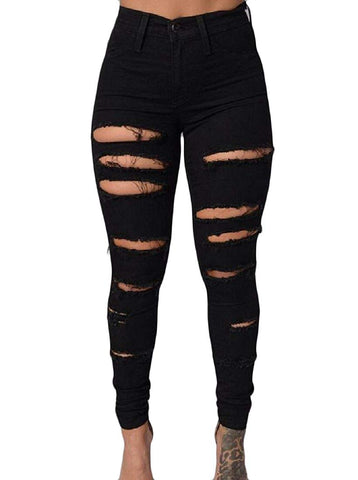 Stretchable Tights Capris  Ripped Holes Highwaist Ankle Jeans