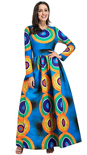Long Sleeve Tribal African Highwaist Pleated Long Maxi Dress - kats closet1